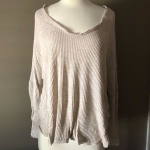 Women's Heathered Oatmeal Thermal Top.